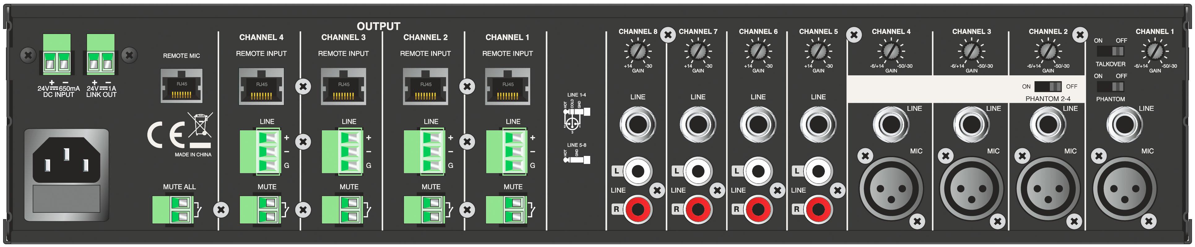 DPA QMX - نمای پشت میکسر و پری آمپ ( دی پی ای ) دارای 8 کانال ورودی و خروجی های متفاوت