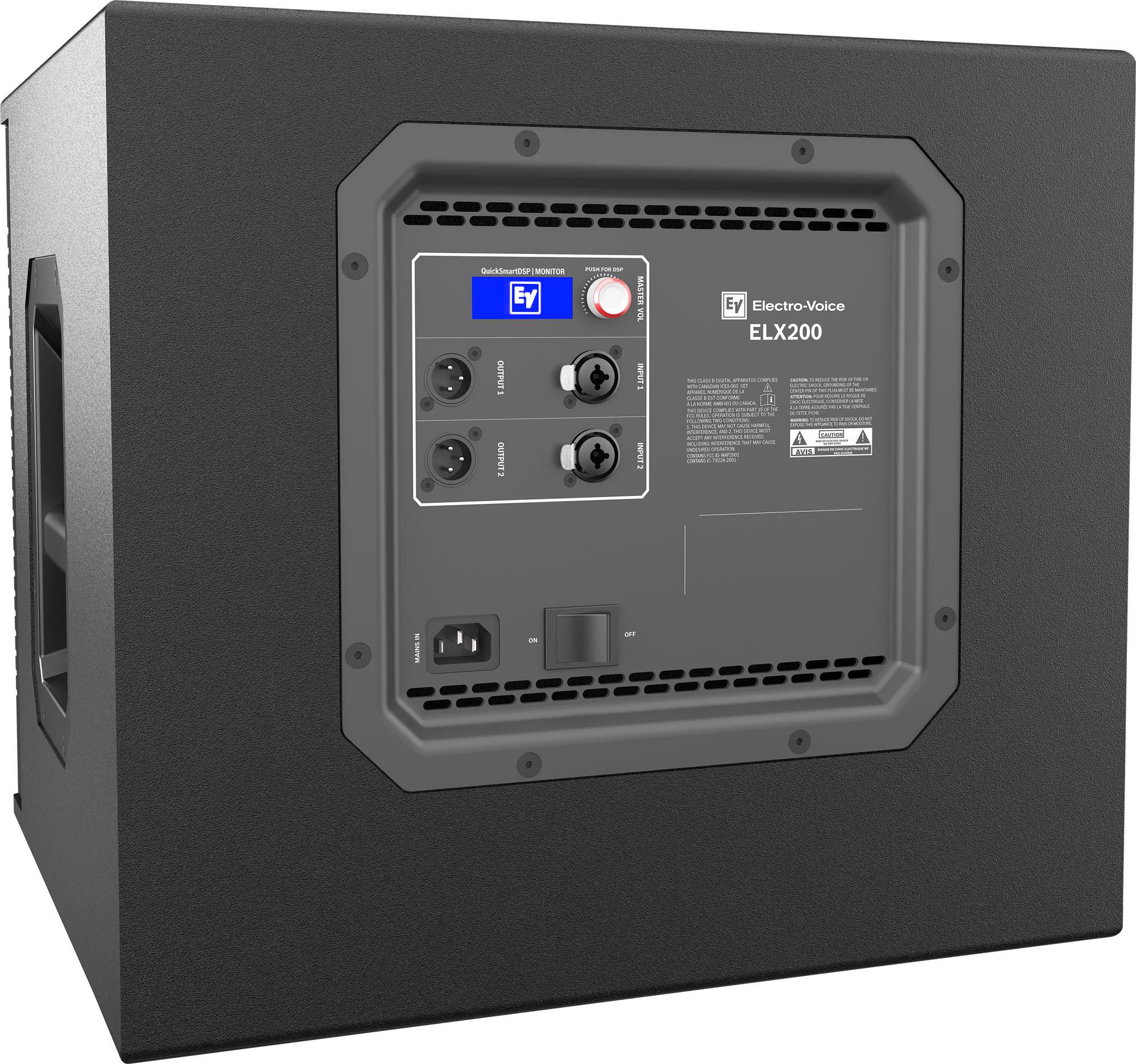 Electro-Voice ELX200 - نمای پشت ساب ووفر های اکتیو و پسیو حرفه ای
