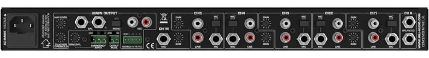 نمای پشت میکسر و پری آمپ محصول کمپانی Hill-Audio ( هیل آدیو ) مدل IPM-1610V2