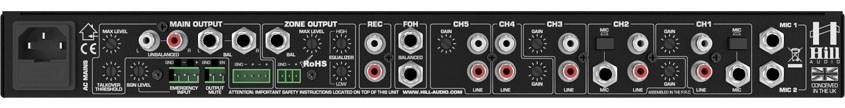 نمای پشت میکسر و پری آمپ زون بندی محصول کمپانی Hill-Audio ( هیل آدیو ) مدل ZPR 2620v2