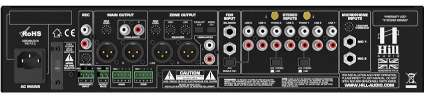 نمای پشت میکسر و پری آمپ زون بندی محصول کمپانی Hill-Audio ( هیل آدیو ) مدل ZPR 2820v2
