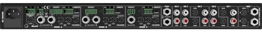 نمای پشت میکسر و پری آمپ زون بندی محصول کمپانی Hill-Audio ( هیل آدیو ) مدل ZPR 3520v2