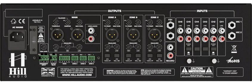 نمای پشت میکسر و پری آمپ زون بندی محصول کمپانی Hill-Audio ( هیل آدیو ) مدل ZPR 4620v2