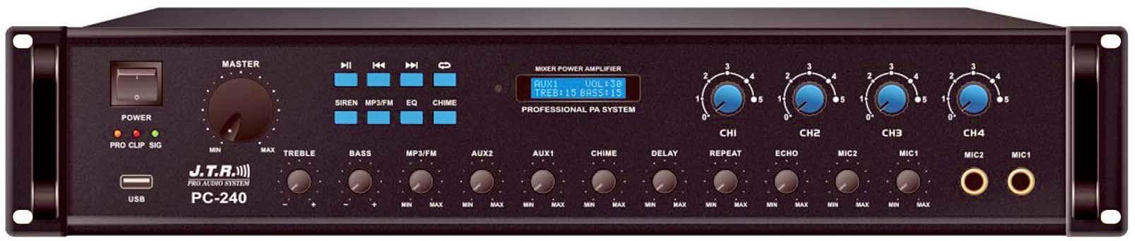 پاور آمپلی فایر آنالوگ محصول کمپانی JTR ( جی تی آر ) سری Public Addrerss Amplifier مدل PC-240