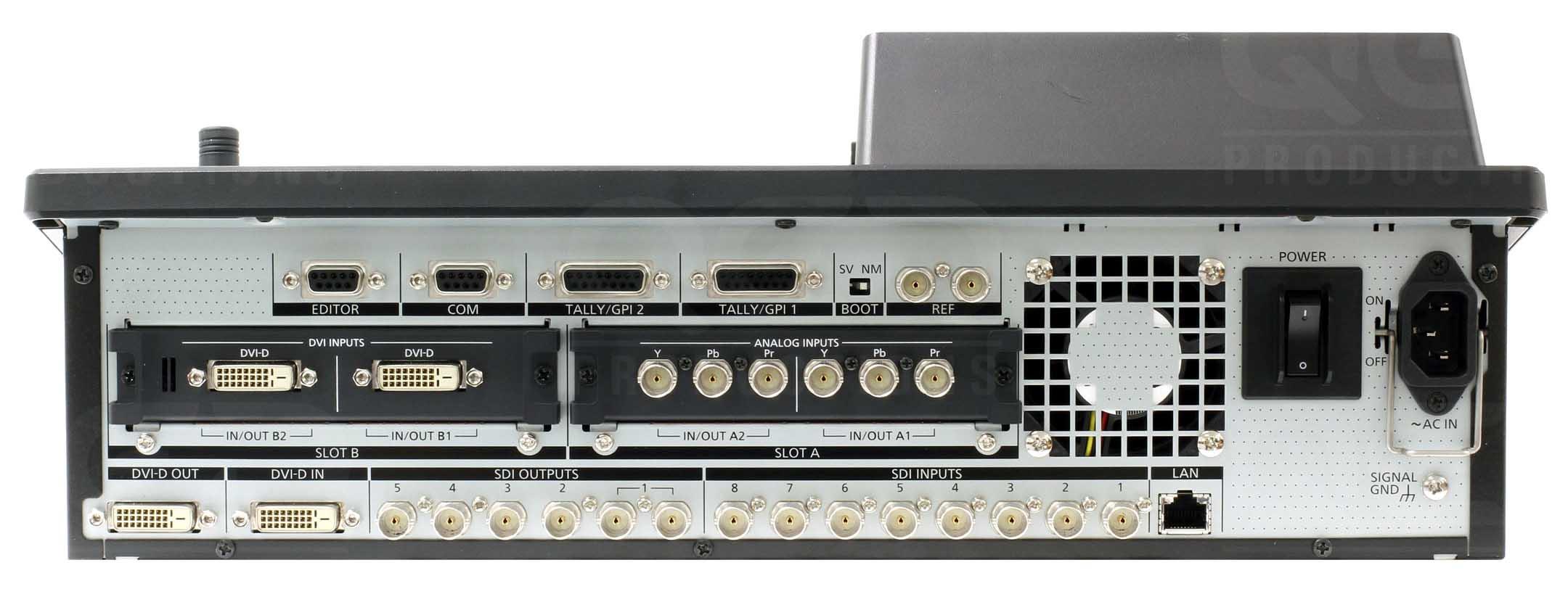 نمای پشت ورودی و خروجی های میکسر تصویر دیجیتال Panasonic مدل HS410
