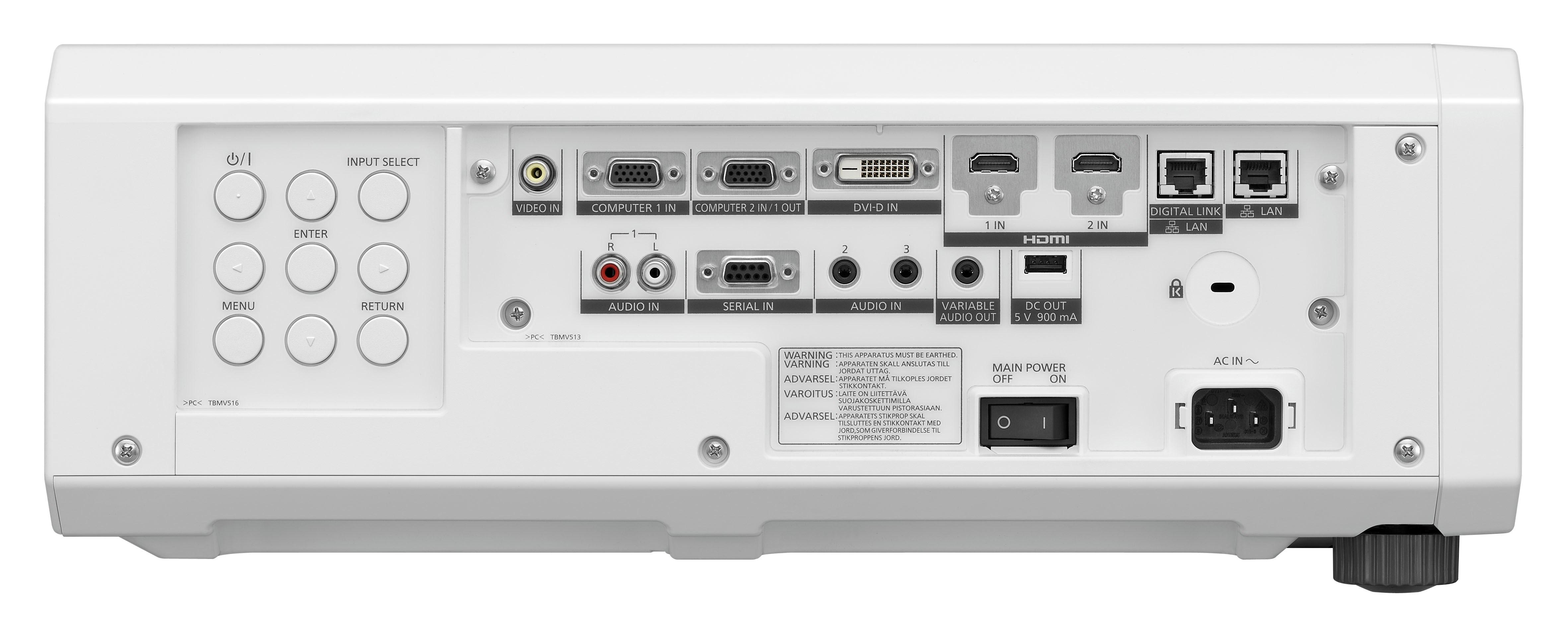 Panasonic PT-RZ570/PT-RZ575 – نمای پشت ويدئو پروجکشن Full HD با تکنولوژی لیزری و قابلیت 24/7مدل PT-RZ470
