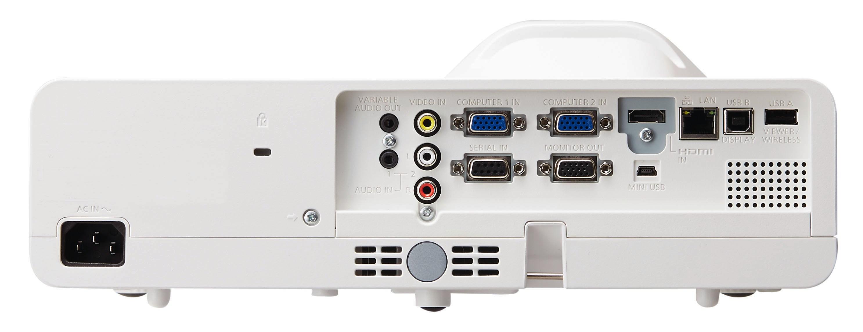 نمای پشت ویدئو پرژکتور های حرفه ای Short-Throw محصول کمپانی Panasonic ( پاناسونیک ) سری PT-TW351