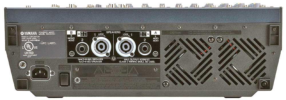 نمای پشت پاور میکسر های تخت Yamaha ( یاماها ) مدل های EMX5014c , EMX5016cf