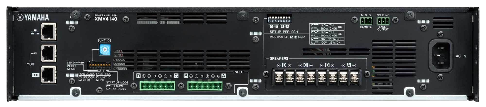 نمای پشت و ورودی و خروجی های پاور آمپلی فایر های 4 کانال آنالوگ YAMAHA ( یاماها ) مدل های XMV4140,XMV4280