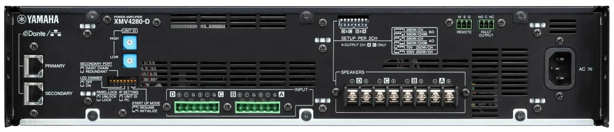 نمای پشت و ورودی و خروجی های پاور آمپلی فایر های 4 کانال تحت شبکه YAMAHA ( یاماها ) مدل های XMV4140D , XMV4280D
