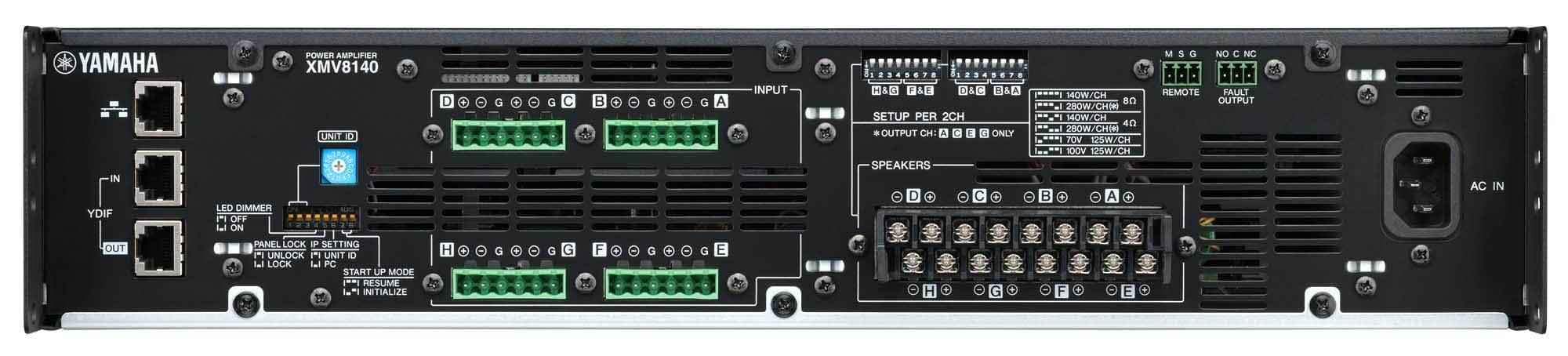 نمای پشت و ورودی و خروجی های پاور آمپلی فایر های 8 کانال آنالوگ YAMAHA ( یاماها ) مدل های XMV8140,XMV8280