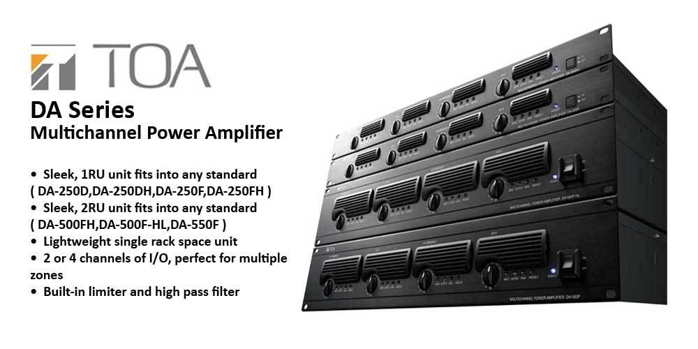 پاور آمپلی فایر های دیجیتال 2 , 4 کانال محصول کمپانی TOA ( تو آ ) سری DA