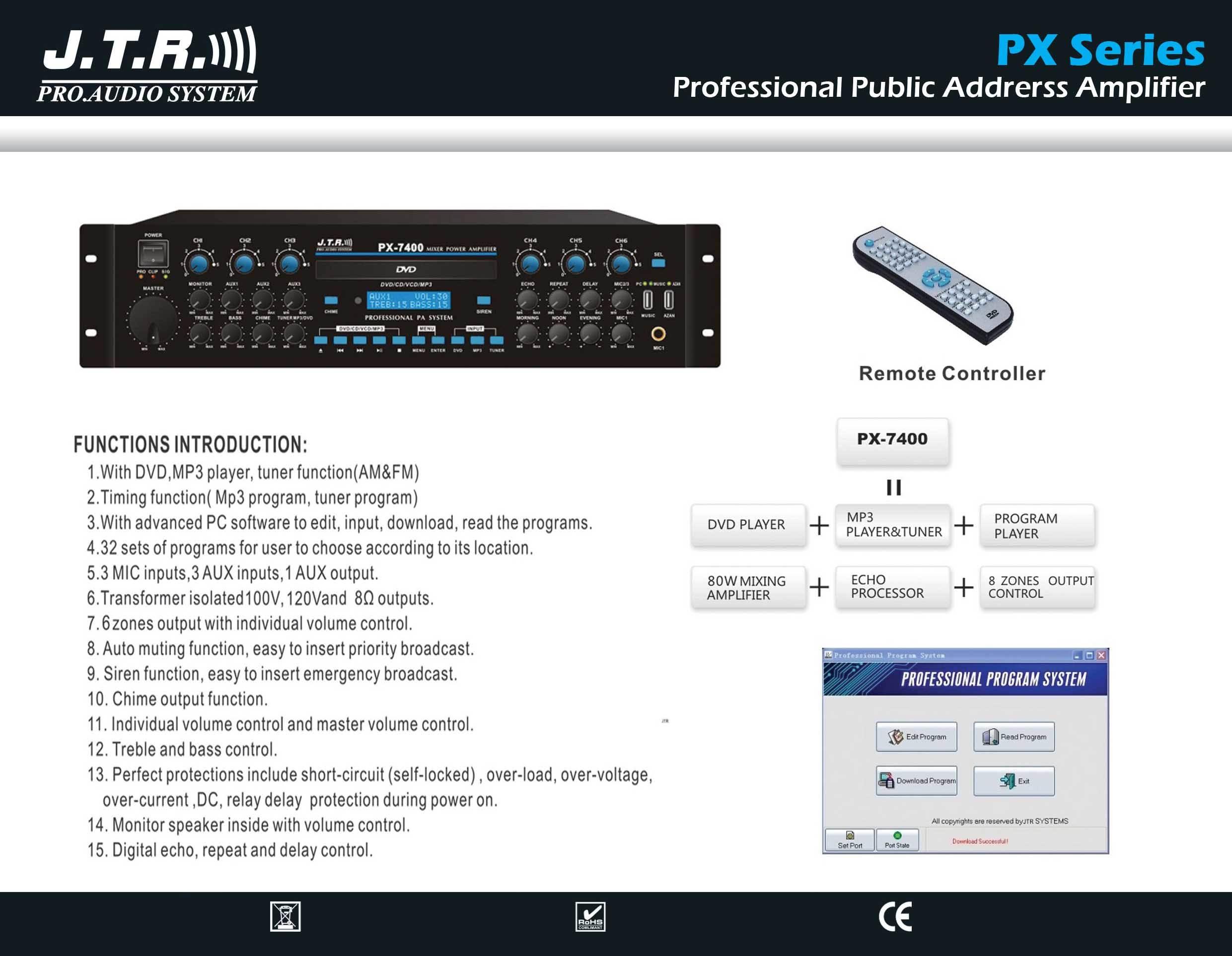 پاور آمپلی فایر آنالوگ محصول کمپانی JTR ( جی تی آر ) سری Public Addrerss Amplifier PX Series