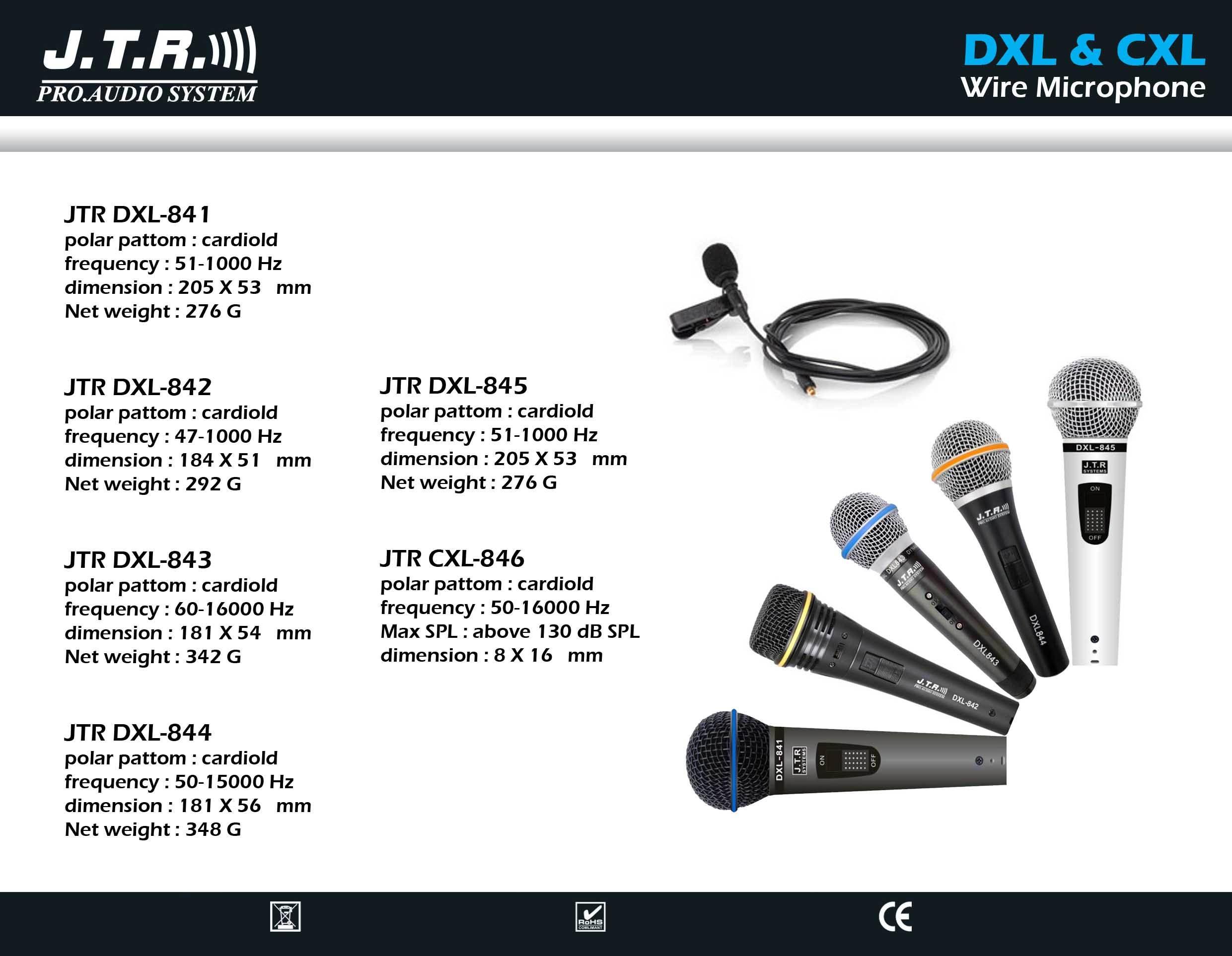 انواع میکروفن های با سیم دستی و یقه ای محصول کمپانی JTR سری DXL & CXL