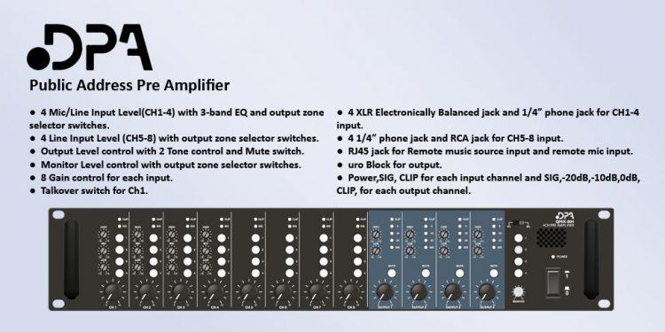 DPA QMX - میکسر و پری آمپ ( دی پی ای ) دارای 8 کانال ورودی و خروجی های متفاوت